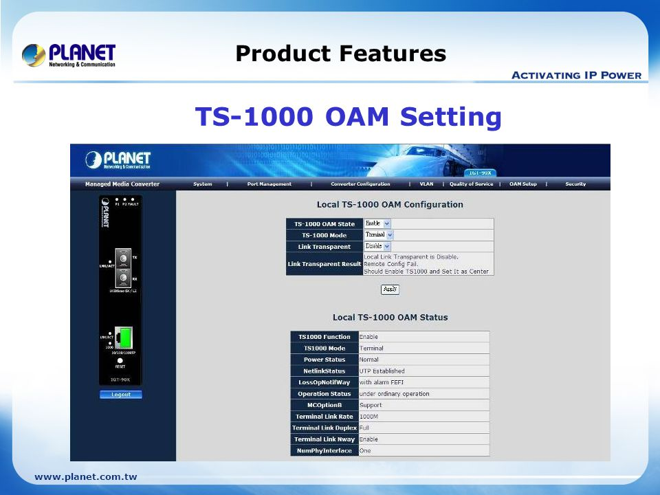 Product Features TS-1000 OAM Setting