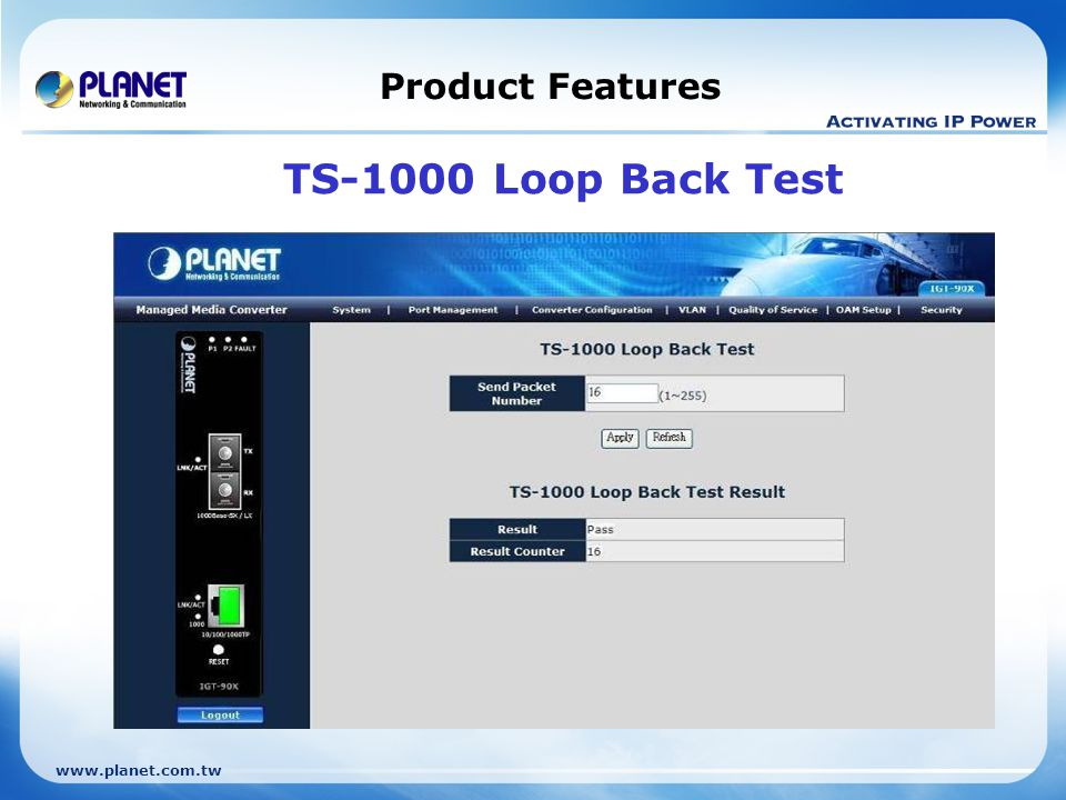 Product Features TS-1000 Loop Back Test