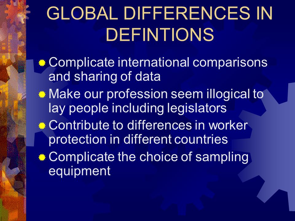 GLOBAL DIFFERENCES IN DEFINTIONS