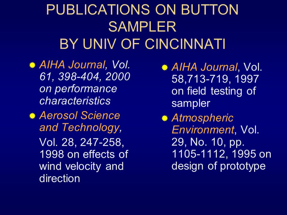 PUBLICATIONS ON BUTTON SAMPLER BY UNIV OF CINCINNATI