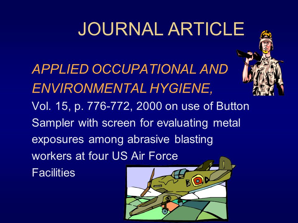 JOURNAL ARTICLE APPLIED OCCUPATIONAL AND ENVIRONMENTAL HYGIENE,