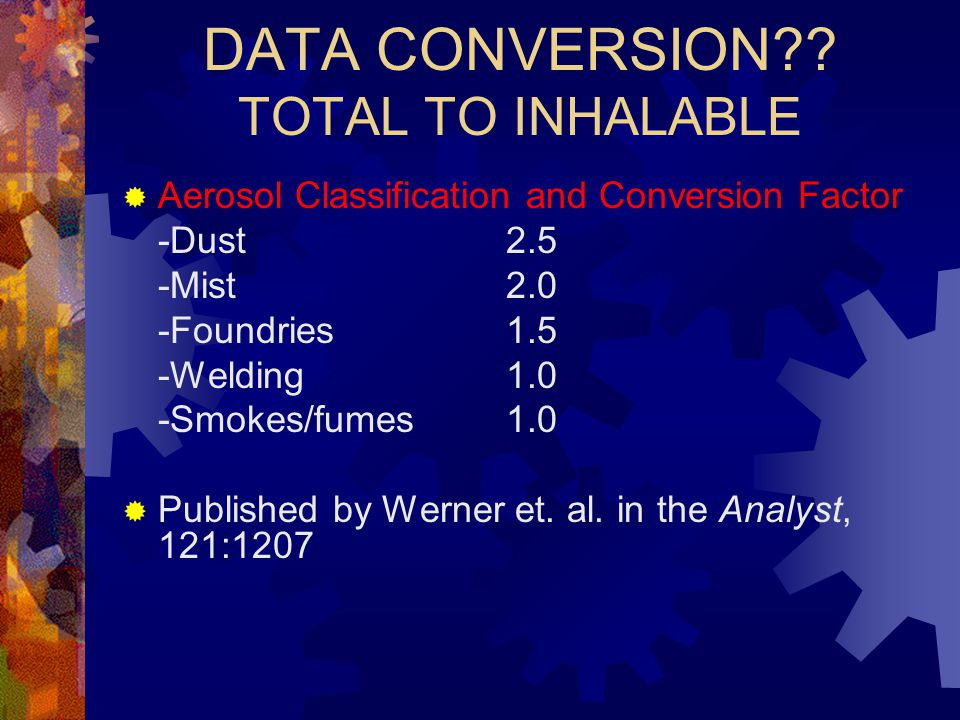 DATA CONVERSION TOTAL TO INHALABLE