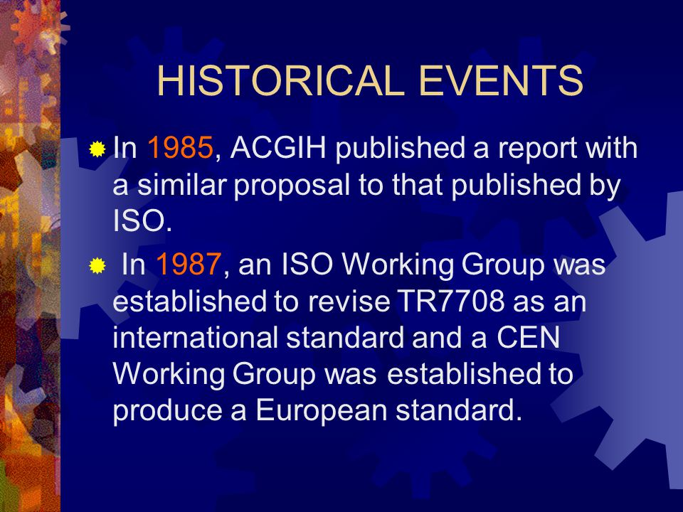 HISTORICAL EVENTS In 1985, ACGIH published a report with a similar proposal to that published by ISO.