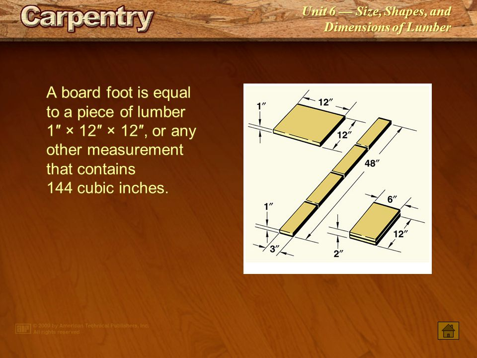 A board foot is equal to a piece of lumber 1″ × 12″ × 12″, or any other measurement that contains 144 cubic inches.