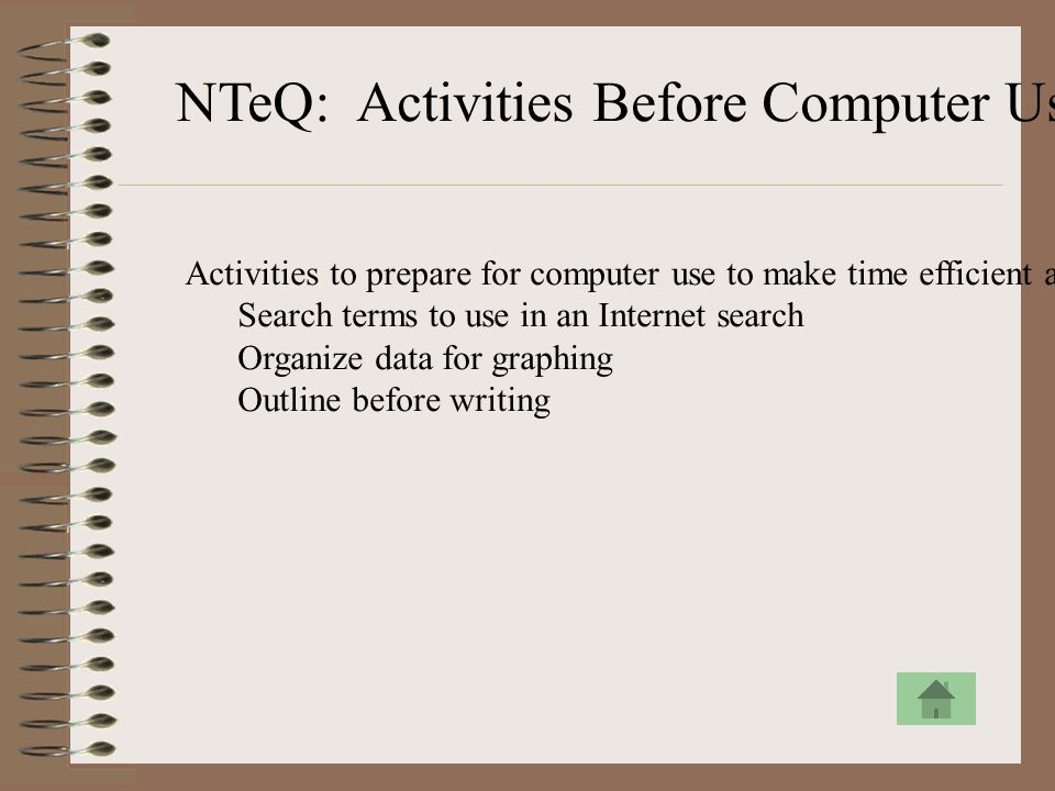 NTeQ: Activities Before Computer Use