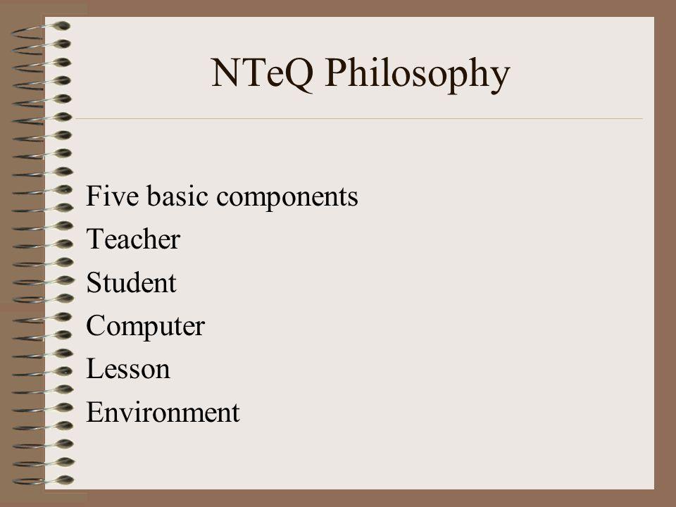 NTeQ Philosophy Five basic components Teacher Student Computer Lesson