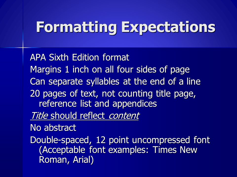 Formatting Expectations
