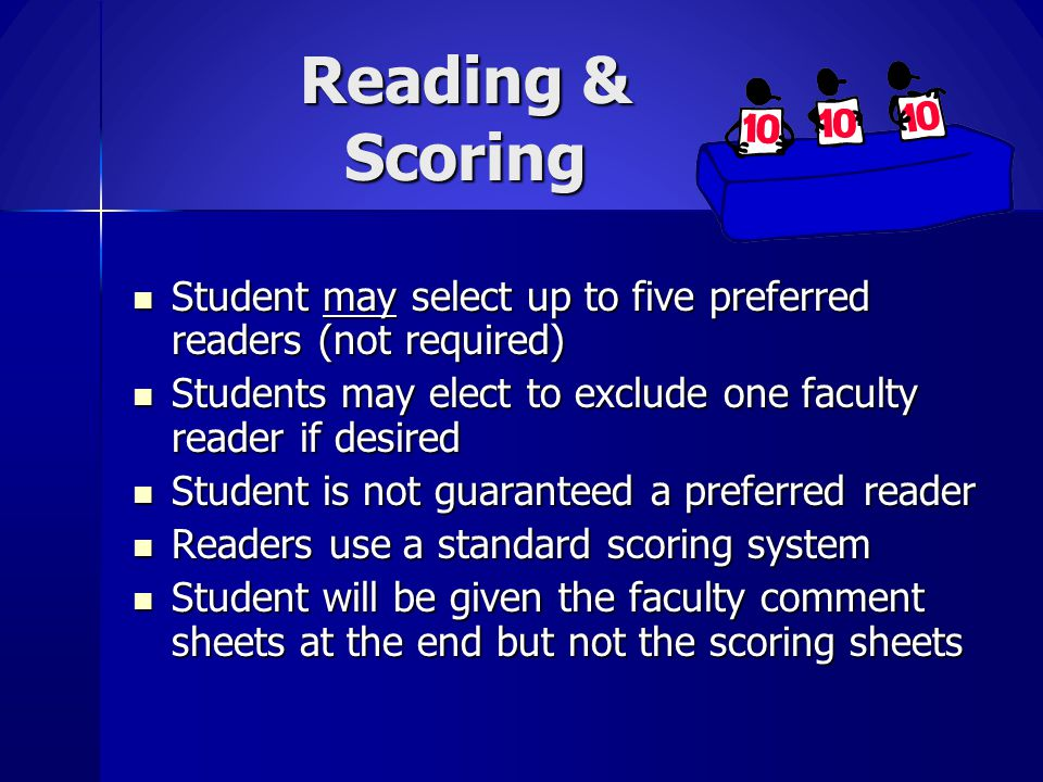 Reading & Scoring Student may select up to five preferred readers (not required) Students may elect to exclude one faculty reader if desired.