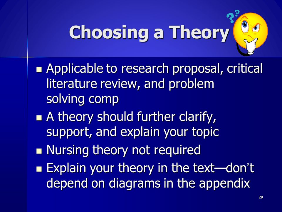 Choosing a Theory Applicable to research proposal, critical literature review, and problem solving comp.