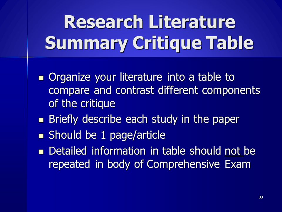Research Literature Summary Critique Table