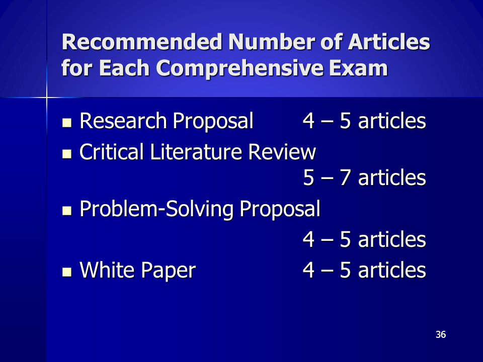 Recommended Number of Articles for Each Comprehensive Exam