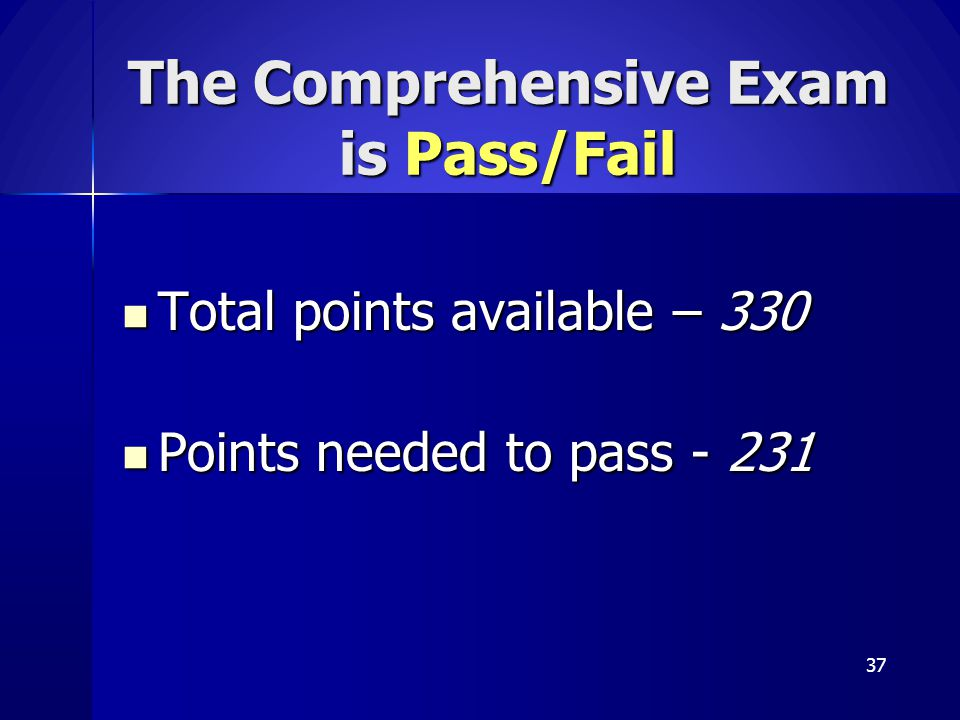 The Comprehensive Exam is Pass/Fail