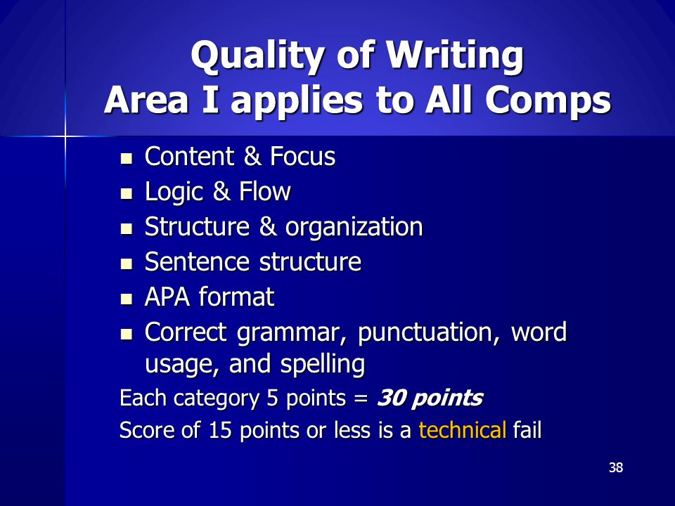 Quality of Writing Area I applies to All Comps