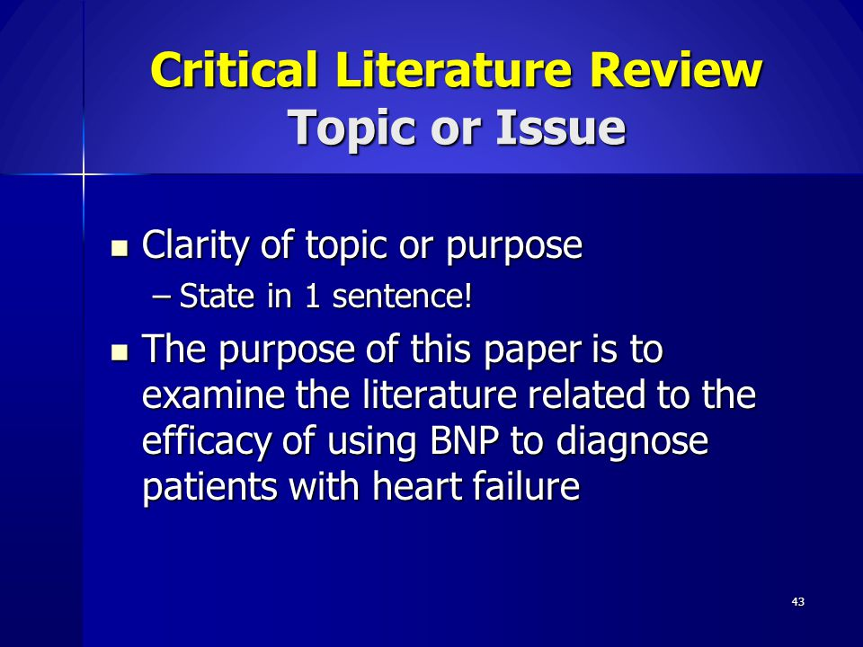 Critical Literature Review Topic or Issue