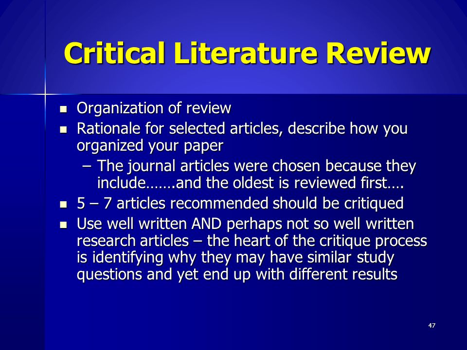 Critical Literature Review