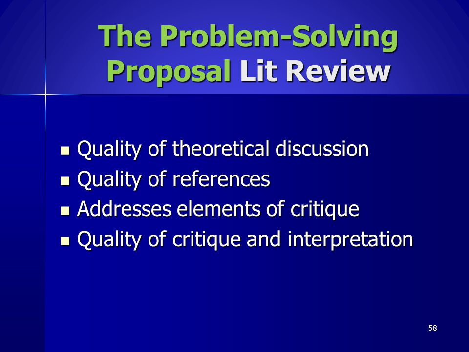 The Problem-Solving Proposal Lit Review