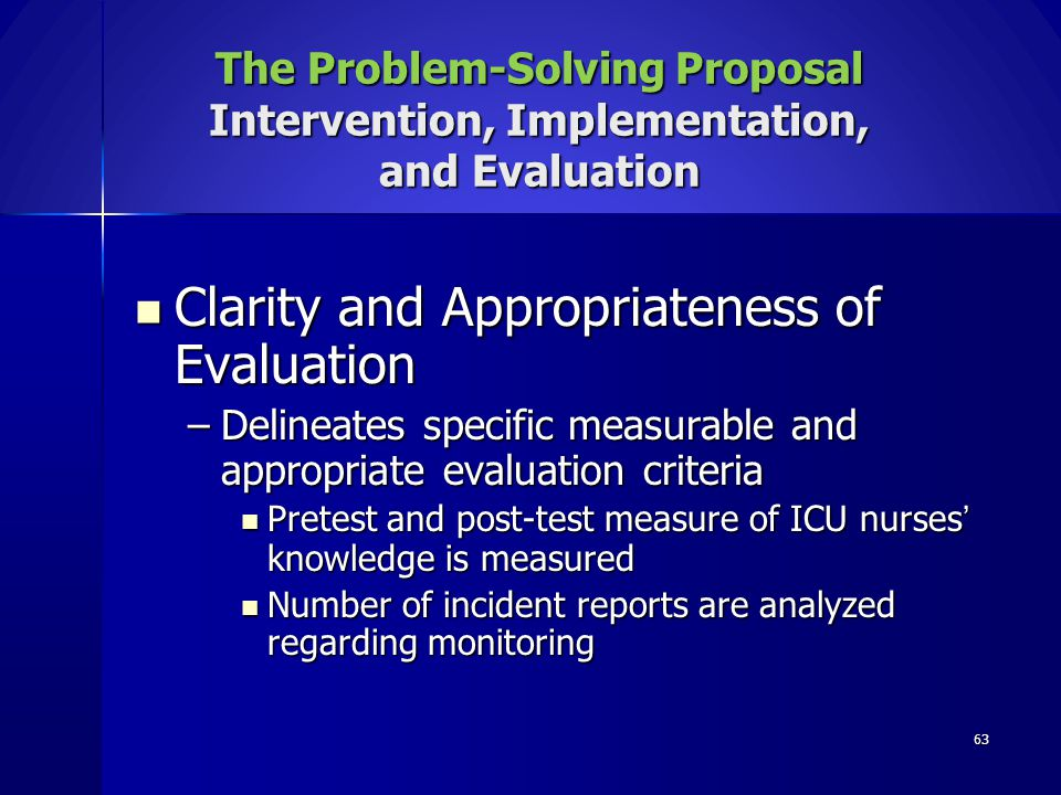 Clarity and Appropriateness of Evaluation