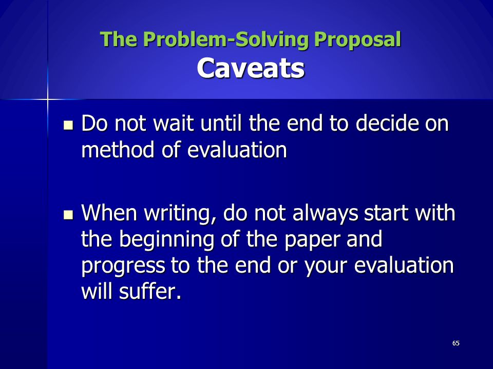 The Problem-Solving Proposal Caveats