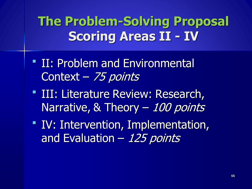 The Problem-Solving Proposal Scoring Areas II - IV