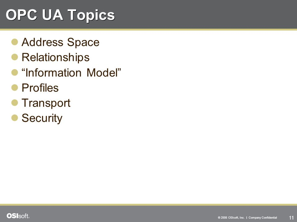 OPC UA Topics Address Space Relationships Information Model Profiles