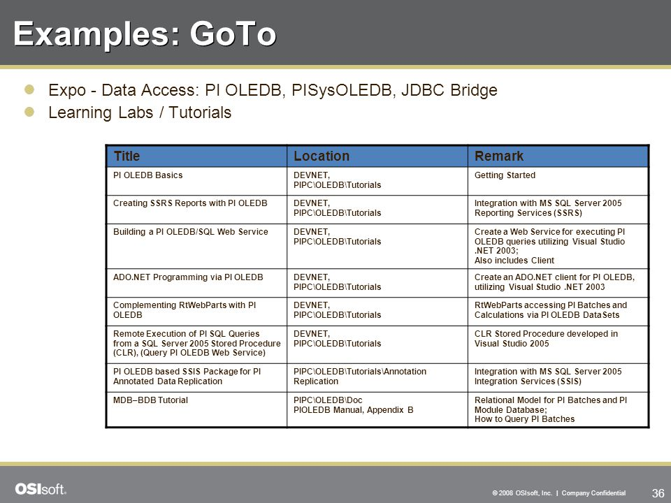 Examples: GoTo Expo - Data Access: PI OLEDB, PISysOLEDB, JDBC Bridge