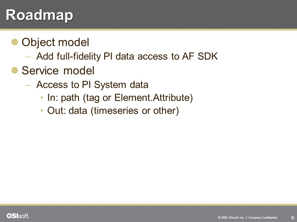 Roadmap Object model Service model