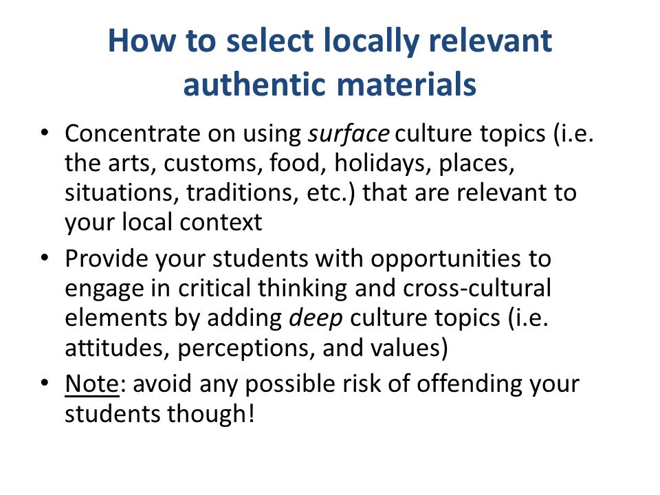 How to select locally relevant authentic materials