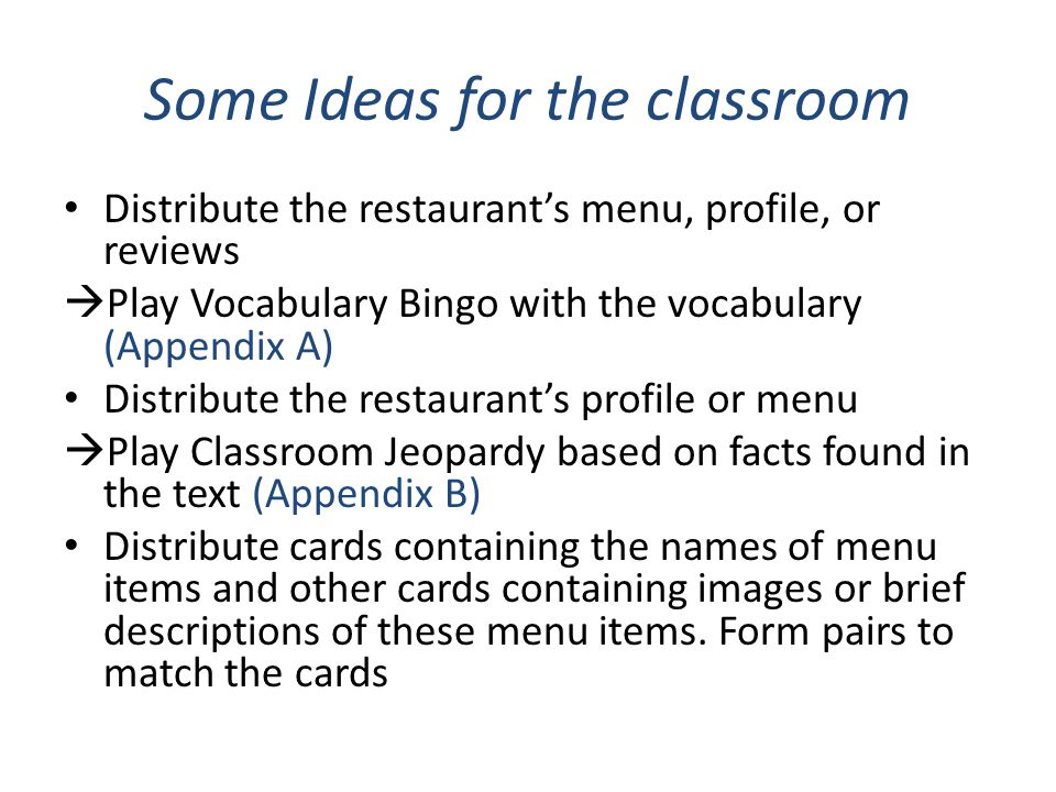 Some Ideas for the classroom