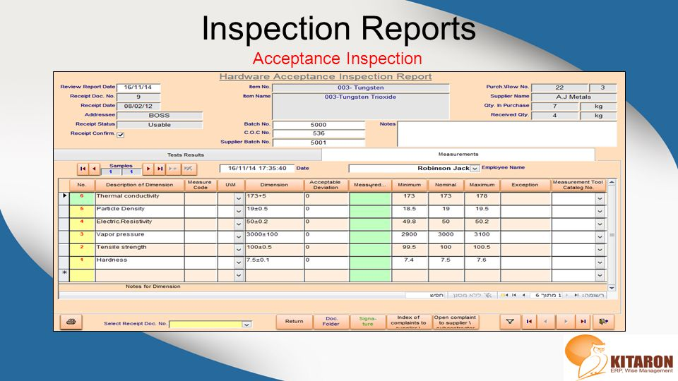 Inspection Reports Acceptance Inspection