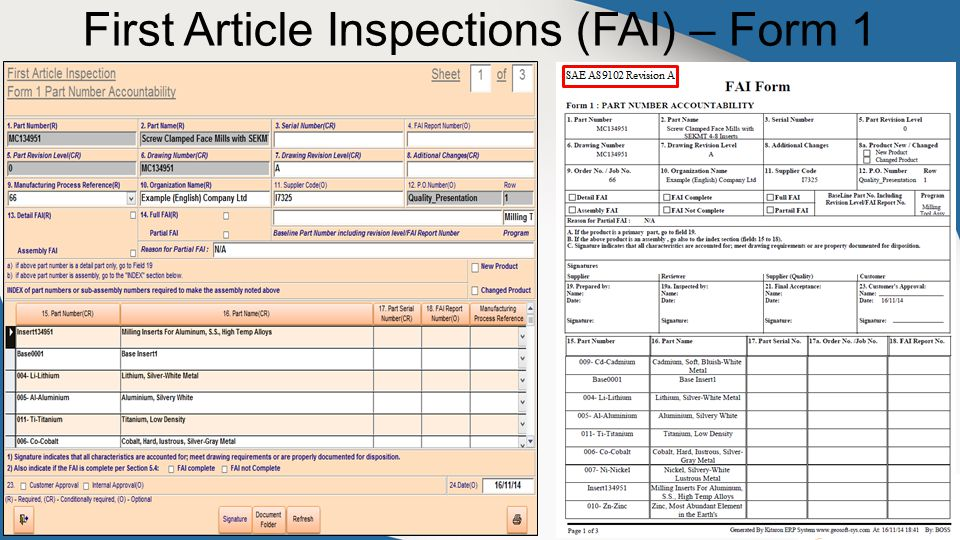 First Article Inspections (FAI) – Form 1