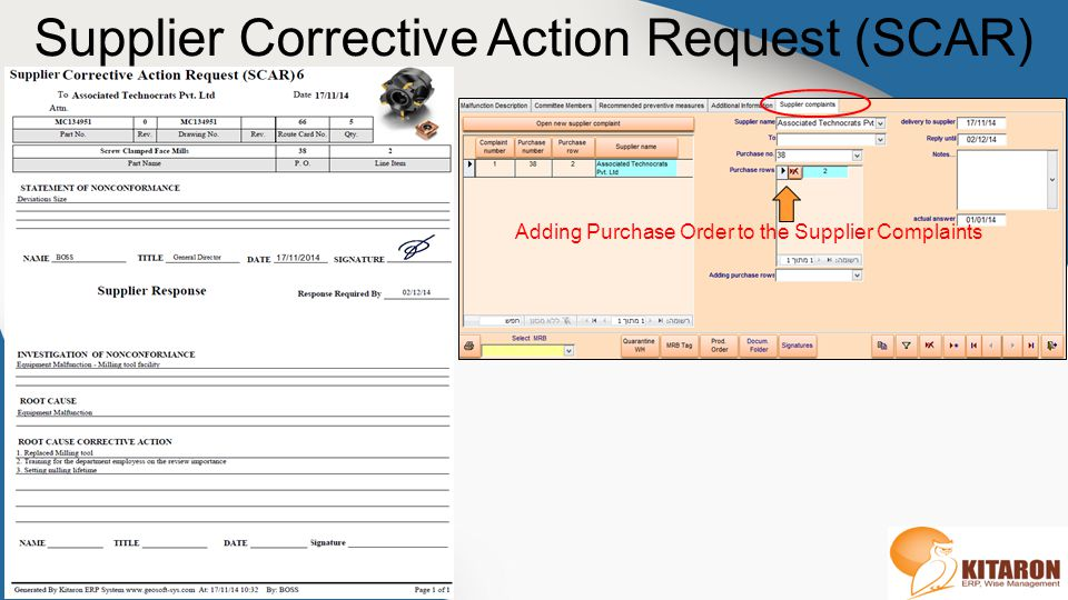 Supplier Corrective Action Request (SCAR)
