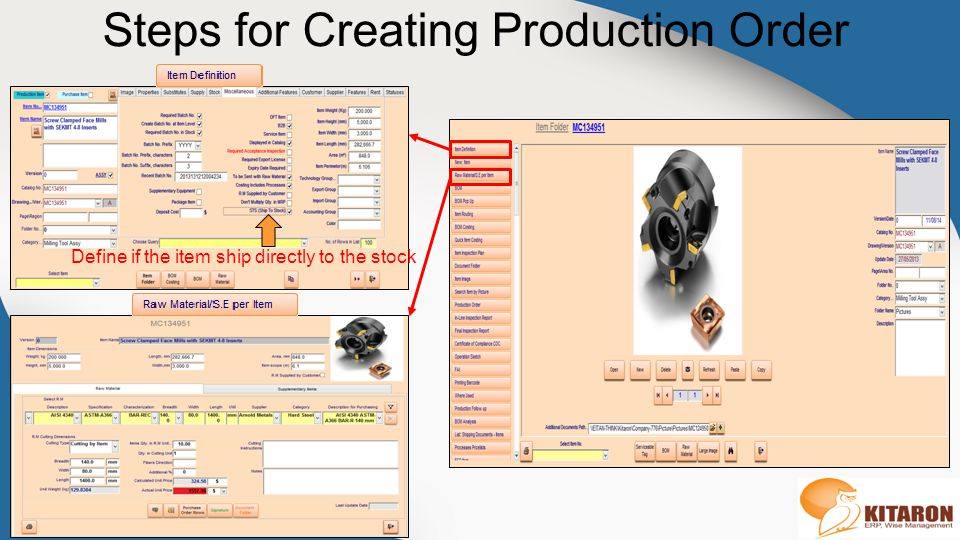 Steps for Creating Production Order