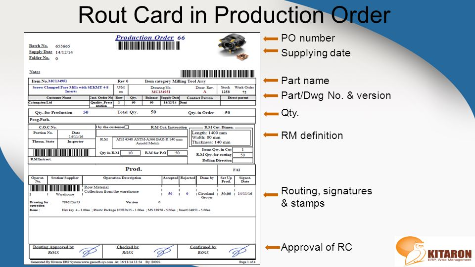 Rout Card in Production Order