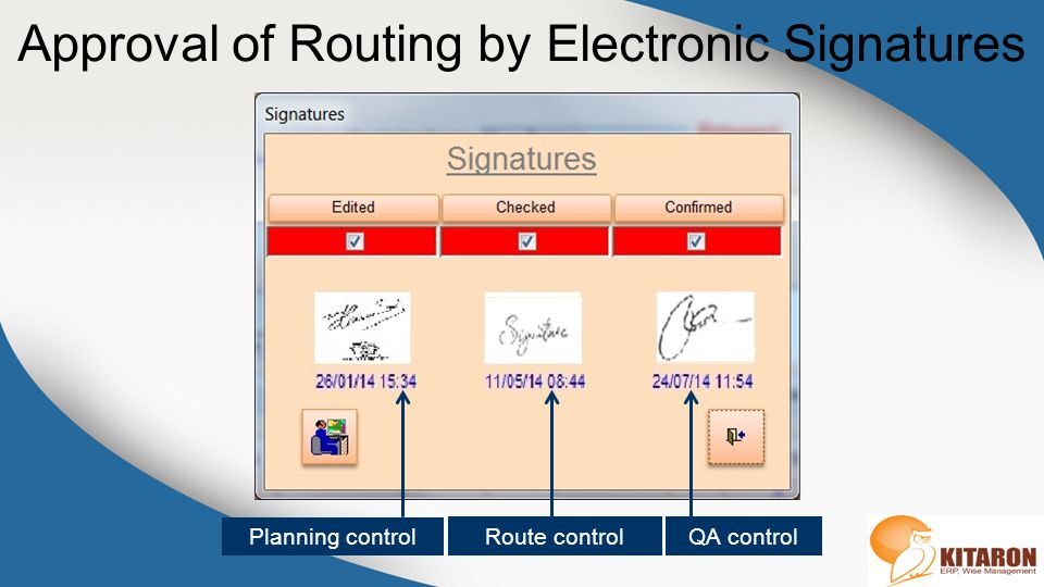 Approval of Routing by Electronic Signatures