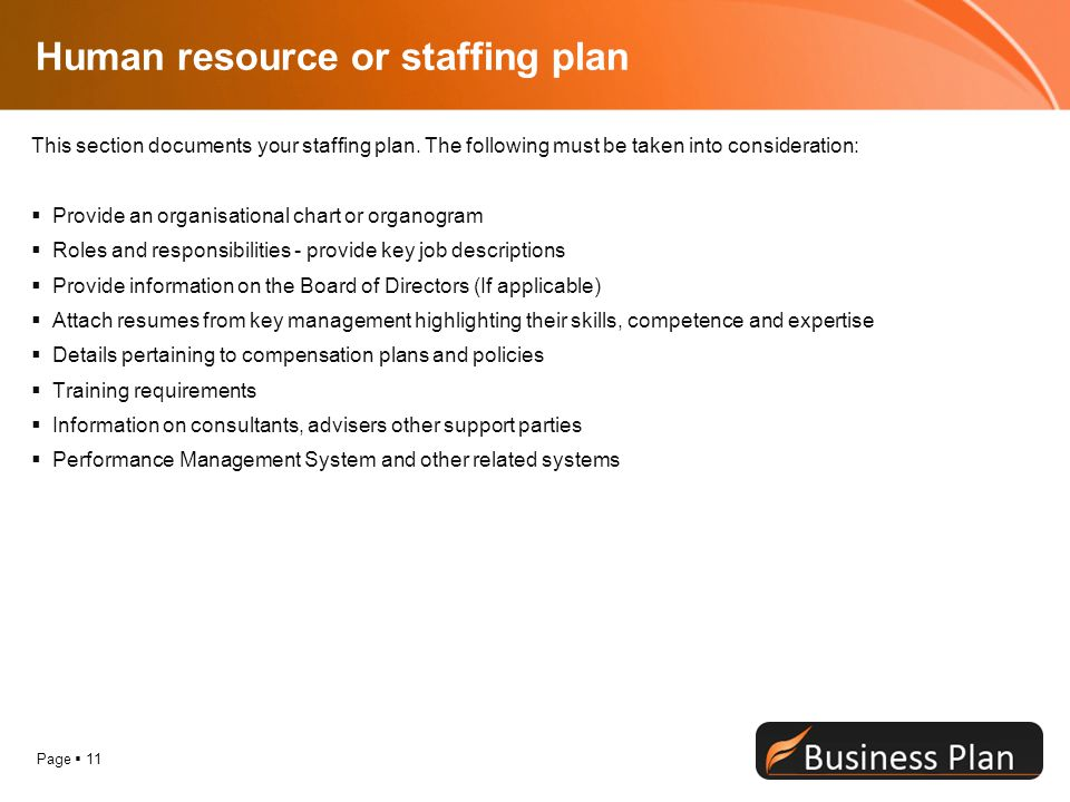 Human resource or staffing plan