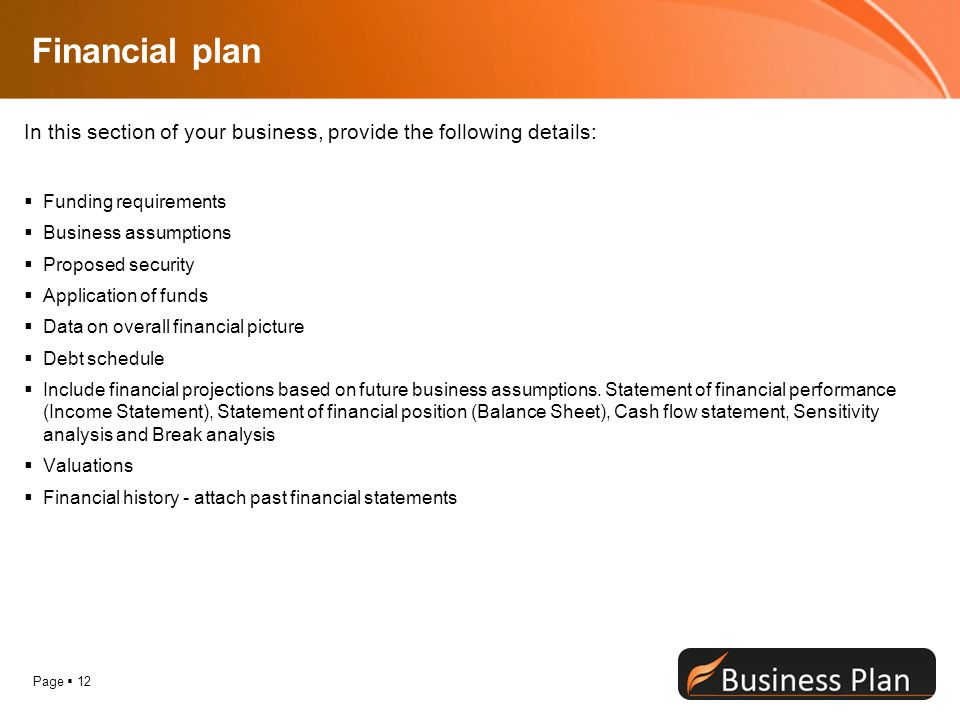 Financial plan In this section of your business, provide the following details: Funding requirements.
