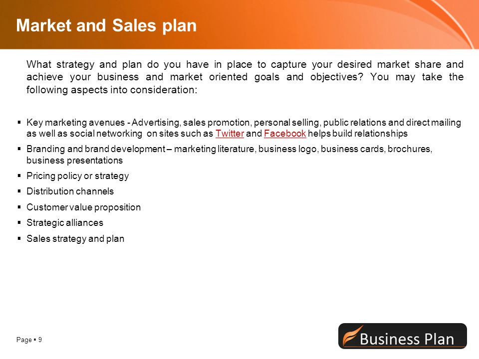 Market and Sales plan