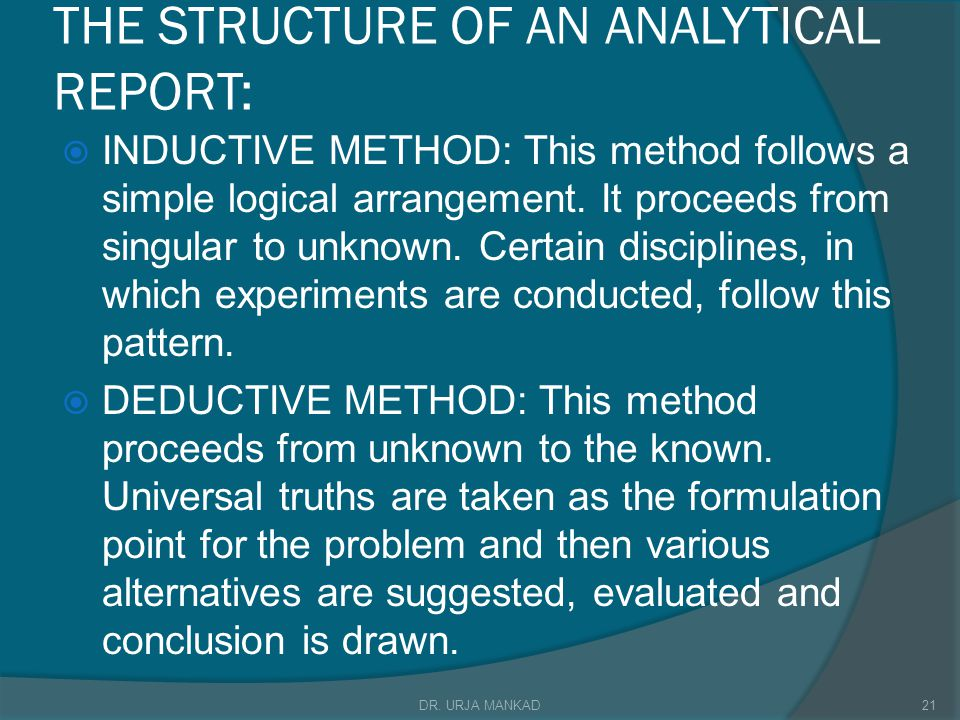THE STRUCTURE OF AN ANALYTICAL REPORT: