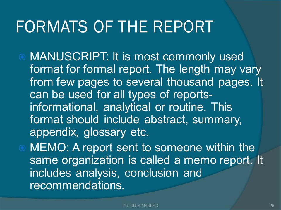 FORMATS OF THE REPORT