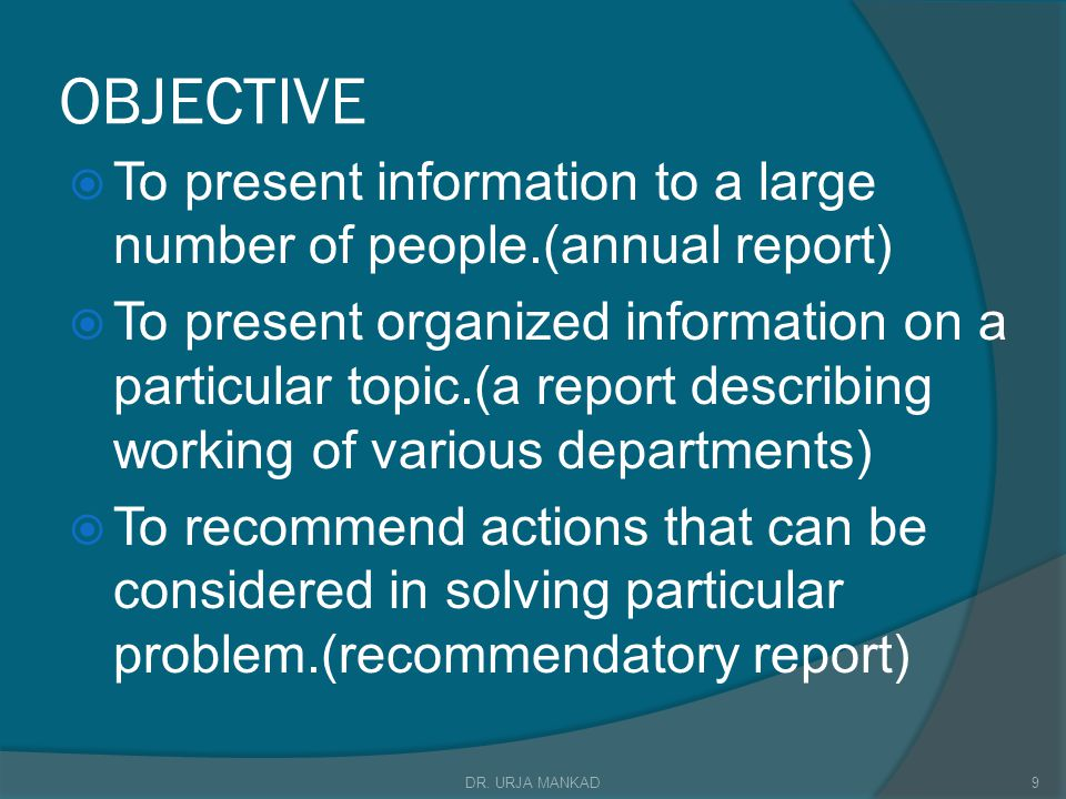 OBJECTIVE To present information to a large number of people.(annual report)