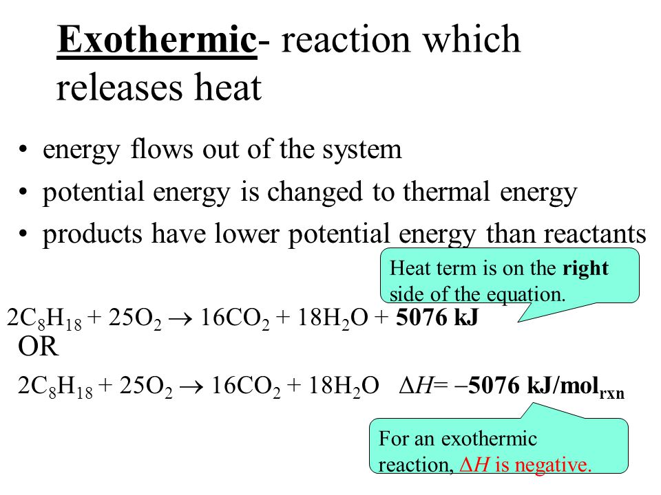 Exothermic- reaction which releases heat