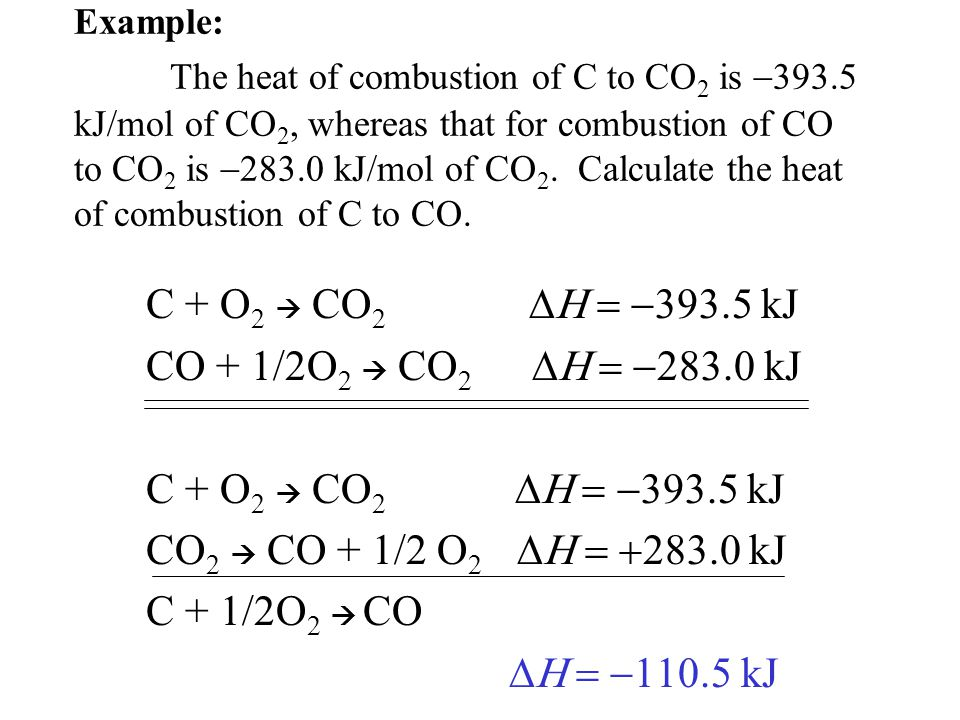 C + O2  CO2 DH = -393.5 kJ CO + 1/2O2  CO2 DH = -283.0 kJ