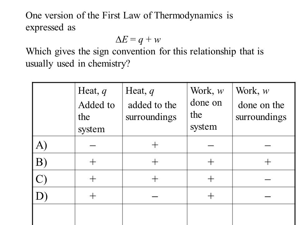 One version of the First Law of Thermodynamics is expressed as