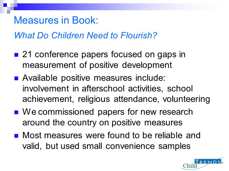 Measures in Book: What Do Children Need to Flourish