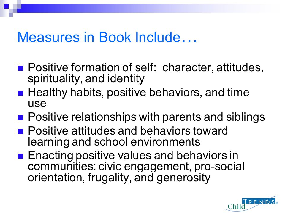 Measures in Book Include…