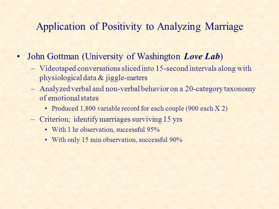 Application of Positivity to Analyzing Marriage