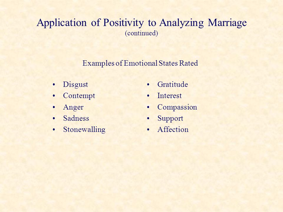 Application of Positivity to Analyzing Marriage (continued)