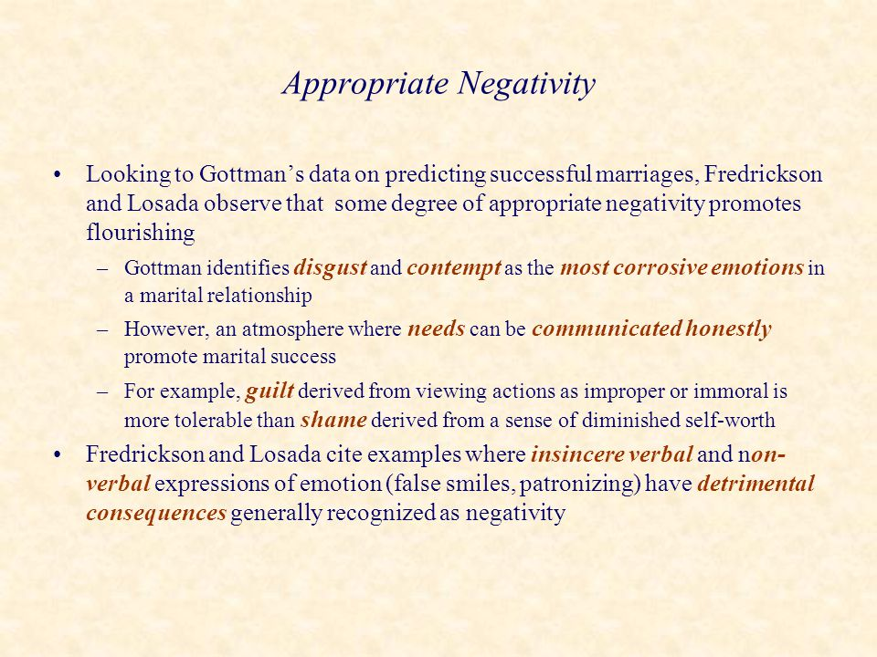 Appropriate Negativity