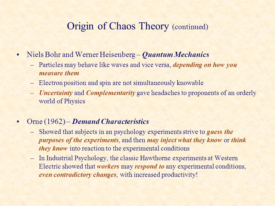 Origin of Chaos Theory (continued)