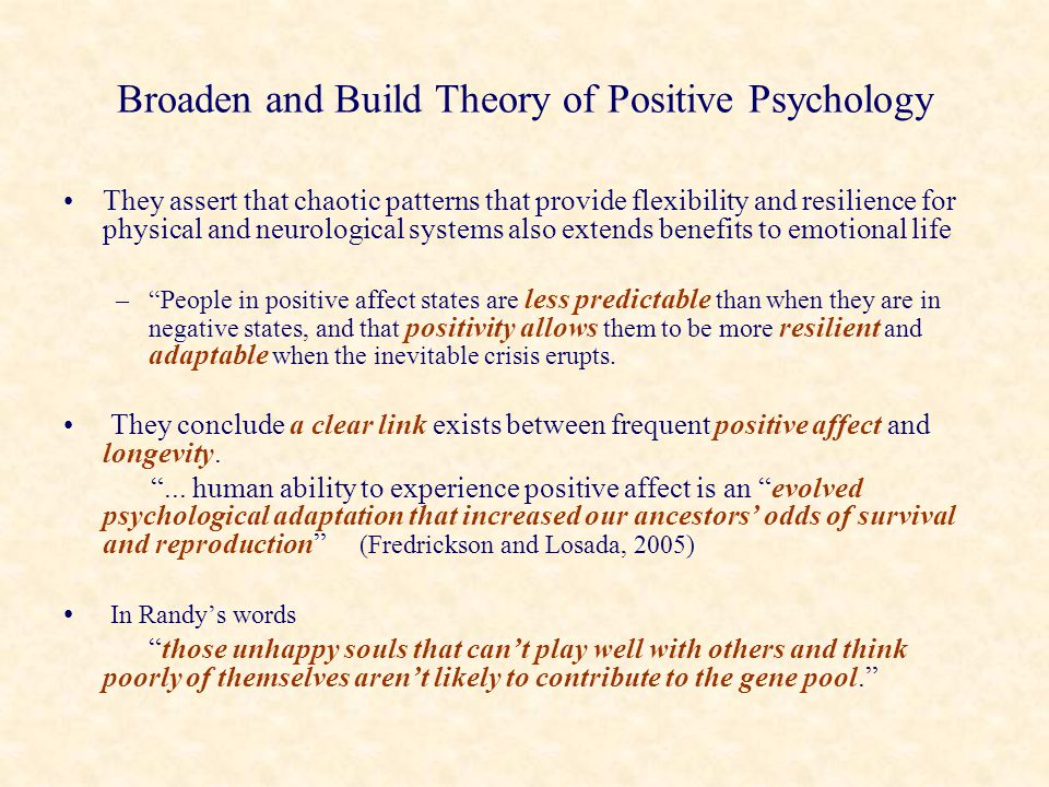 Broaden and Build Theory of Positive Psychology